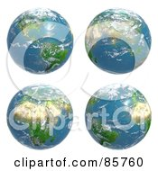 Royalty Free RF Clip Art Illustration Of A Digital Collage Of Four Cloudy Earth Views by Mopic