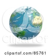 Royalty Free RF Clipart Illustration Of A 3d Cloudy Globe Featuring The Atlantic Ocean