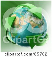 Royalty Free RF Clipart Illustration Of A 3d Earth Engulfed In Green Recycle Arrows