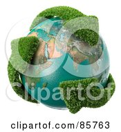 Royalty Free RF Clipart Illustration Of A 3d Earth Engulfed In Leafy Recycle Arrows by Mopic