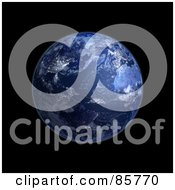 Royalty Free RF Clipart Illustration Of A 3d Blue Globe Of Night And Lights On The Americas And Europe by Mopic
