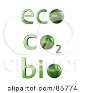 Royalty Free RF Clipart Illustration Of A Digital Collage Of 3d Green Eco Co2 And Bio Words