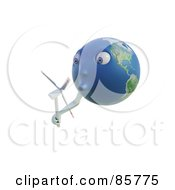 Royalty Free RF Clipart Illustration Of A 3d Earth Face Holding And Blowing A Windmill by Mopic