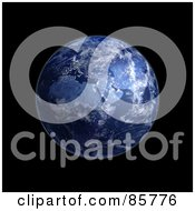 Royalty Free RF Clipart Illustration Of A 3d Blue Globe Of Night And Lights On Africa
