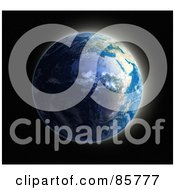 Royalty Free RF Clipart Illustration Of A 3d Globe With The Sun Rising Over Europe And Africa