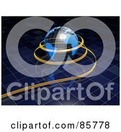 Royalty Free RF Clipart Illustration Of A 3d Ribbon Around A Transparent Globe Over A Reflective Blue Grid by Mopic