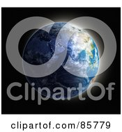 Royalty Free RF Clipart Illustration Of A 3d Globe With The Sun Rising Over Europe And Asia