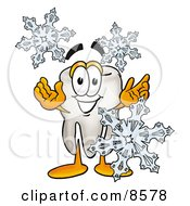 Clipart Picture Of A Tooth Mascot Cartoon Character With Three Snowflakes In Winter