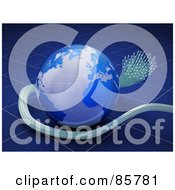 Royalty Free RF Clipart Illustration Of A 3d Blue Globe With Fiberglass Cables Over Blue