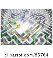 Royalty Free RF Clipart Illustration Of A Colorful 3d Arrows Meeting In The Center Of A Maze by Mopic #COLLC85784-0155