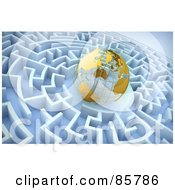 Royalty Free RF Clipart Illustration Of A 3d Golden Wire Globe In The Center Of A Blue Maze by Mopic