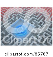 Royalty Free RF Clipart Illustration Of A Glowing Blue At Symbol In The Center Of A Maze by Mopic