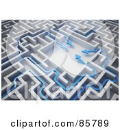 Royalty Free RF Clipart Illustration Of A 3d Blue Arrows Meeting In The Center Of A Maze by Mopic