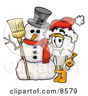 Clipart Picture Of A Tooth Mascot Cartoon Character With A Snowman On Christmas