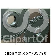 Royalty Free RF Clipart Illustration Of 3d Industrial Gears Over Brown
