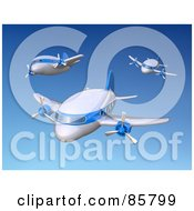Three 3d Airplanes Flying In A Blue Sky