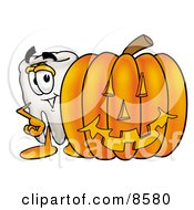 Tooth Mascot Cartoon Character With A Carved Halloween Pumpkin