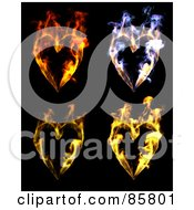 Digital Collage Of Colorful Flaming Hearts Over Black
