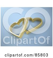Royalty Free RF Clipart Illustration Of Two 3d Golden Hearts Over Gray by Mopic
