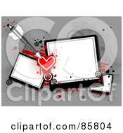 Royalty Free RF Clipart Illustration Of An Arrow With Hearts And Polaroid Pictures With Grunge Over Gray