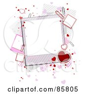 Royalty Free RF Clipart Illustration Of Hearts And Paperclips With Blank Valentine Polaroids by BNP Design Studio