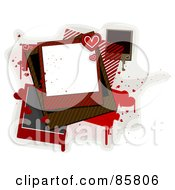 Royalty Free RF Clipart Illustration Of Blank Polaroid Pics With Hearts And Grungy Splatters Over Gray And White