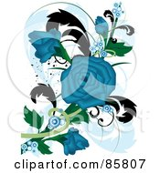 Royalty Free RF Clipart Illustration Of A Blue Floral Grunge Rose Design