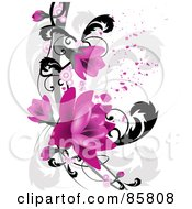 Royalty Free RF Clipart Illustration Of A Pink Floral Grunge Design