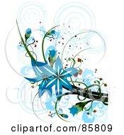 Royalty Free RF Clipart Illustration Of A Blue Floral Grunge Design