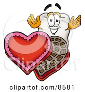 Clipart Picture Of A Tooth Mascot Cartoon Character With An Open Box Of Valentines Day Chocolate Candies