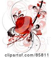 Red Floral Grunge Rose Design