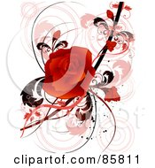 Royalty Free RF Clipart Illustration Of A Red Floral Grunge Rose Design by BNP Design Studio