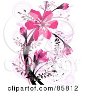 Royalty Free RF Clipart Illustration Of A Pink Flower Grunge Design