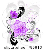 Purple Flower Grunge Design