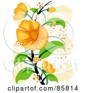 Royalty Free RF Clipart Illustration Of An Orange Floral Grunge Design