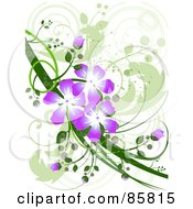 Royalty Free RF Clipart Illustration Of A Purple Floral Grunge Design