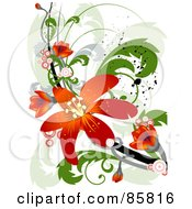Royalty Free RF Clipart Illustration Of A Red Floral Grunge Design