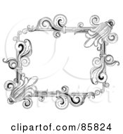 Royalty Free RF Clipart Illustration Of A Vintage Black And White Victorian Text Box Version 4