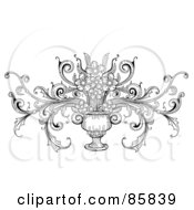 Royalty Free RF Clipart Illustration Of A Vintage Black And White Vase With Flowers