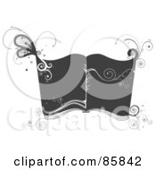 Royalty Free RF Clipart Illustration Of A Gray And White Open Book With Vines And Swirls