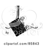 Royalty Free RF Clipart Illustration Of A Gray And Black Curly Sale Vine And Tag With Butterflies And Sparkles by BNP Design Studio