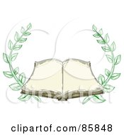 Royalty Free RF Clipart Illustration Of An Antique Book Open With Blank Pages And Branches