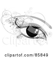 Royalty Free RF Clipart Illustration Of A Womans Shiny Eye With Curly Vines by BNP Design Studio