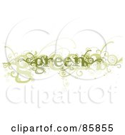 Royalty Free RF Clipart Illustration Of A Green Curly Vine by BNP Design Studio