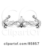 Royalty Free RF Clipart Illustration Of A Vintage Black And White Victorian Flourish Header by BNP Design Studio