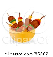 Royalty Free RF Clipart Illustration Of Meat And Veggie Kebabs In A Yellow Bowl