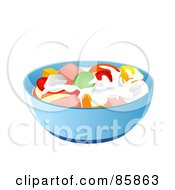 Royalty Free RF Clipart Illustration Of A Blue Bowl Of Fruit Salad