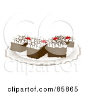 Royalty Free RF Clipart Illustration Of Cut Chocolate Brownies With Vanilla Frosting On A Plate by BNP Design Studio