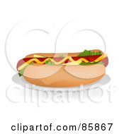 Royalty Free RF Clipart Illustration Of A Fresh Hot Dog Sandwich With Mustard Cheese And Lettuce On A Bun