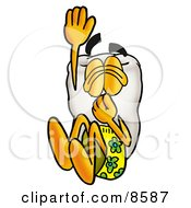 Clipart Picture Of A Tooth Mascot Cartoon Character Plugging His Nose While Jumping Into Water